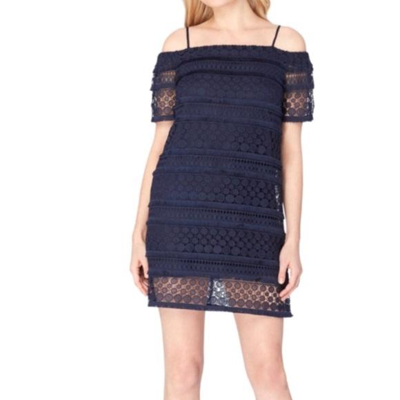 c1f5125b9d Tahari Arthur S Levine Lace Cold Shoulder Dress 6
